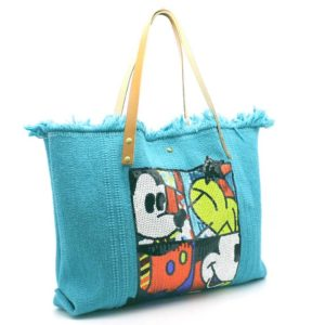 sac coton et cuir Mickey Mouse turquoise