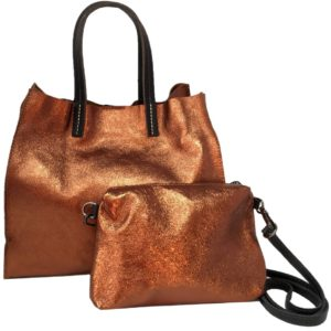 sac couple brillant vachette coloris bronze