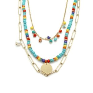 collier 3 rangs chaines et turquoise