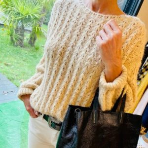 Pull col rond beige KP581